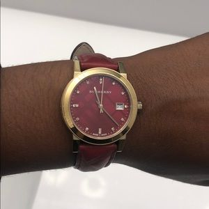 Burberry watch (red and gold)